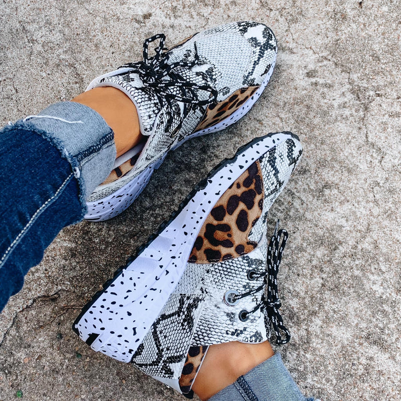 Goal Digger Tennis Shoes - Snake/Leopard