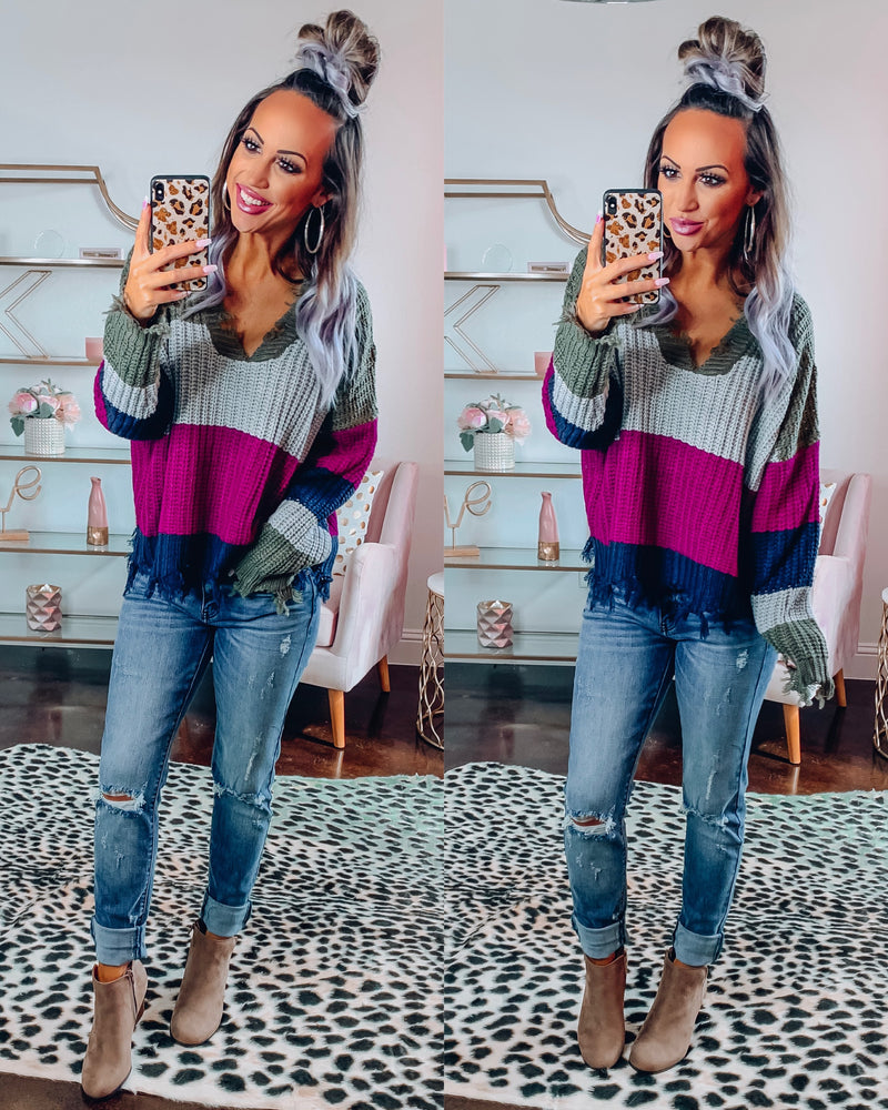 Magenta Colorblock Distressed Sweater