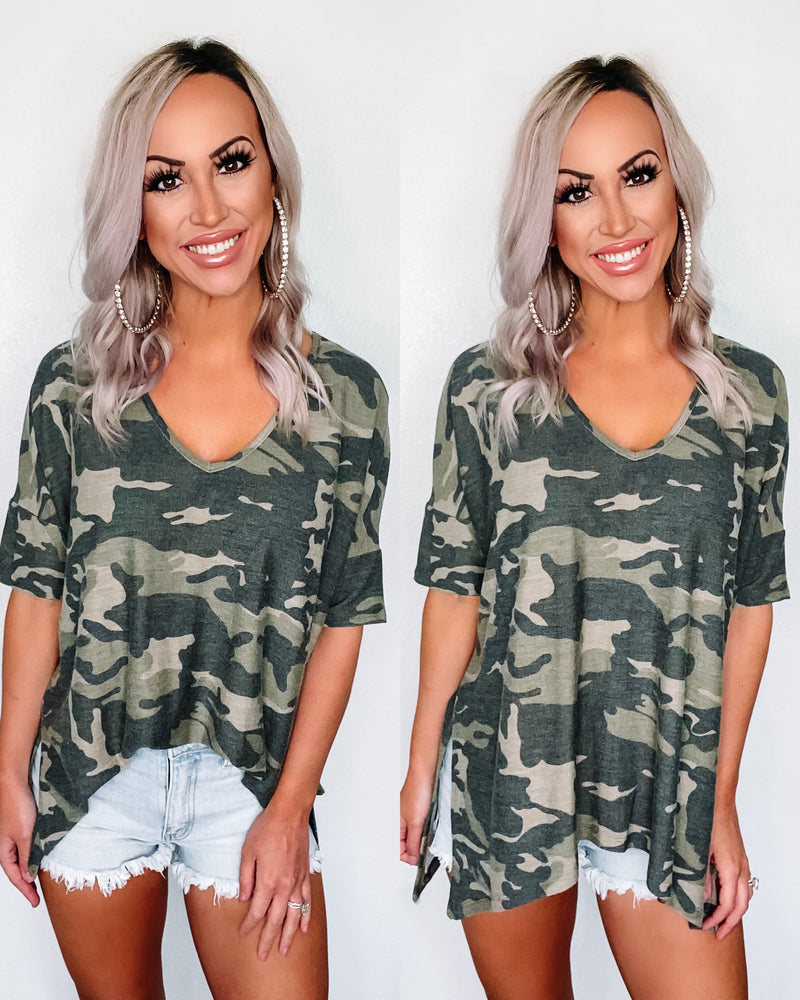 Let It Go Oversized Camo Top