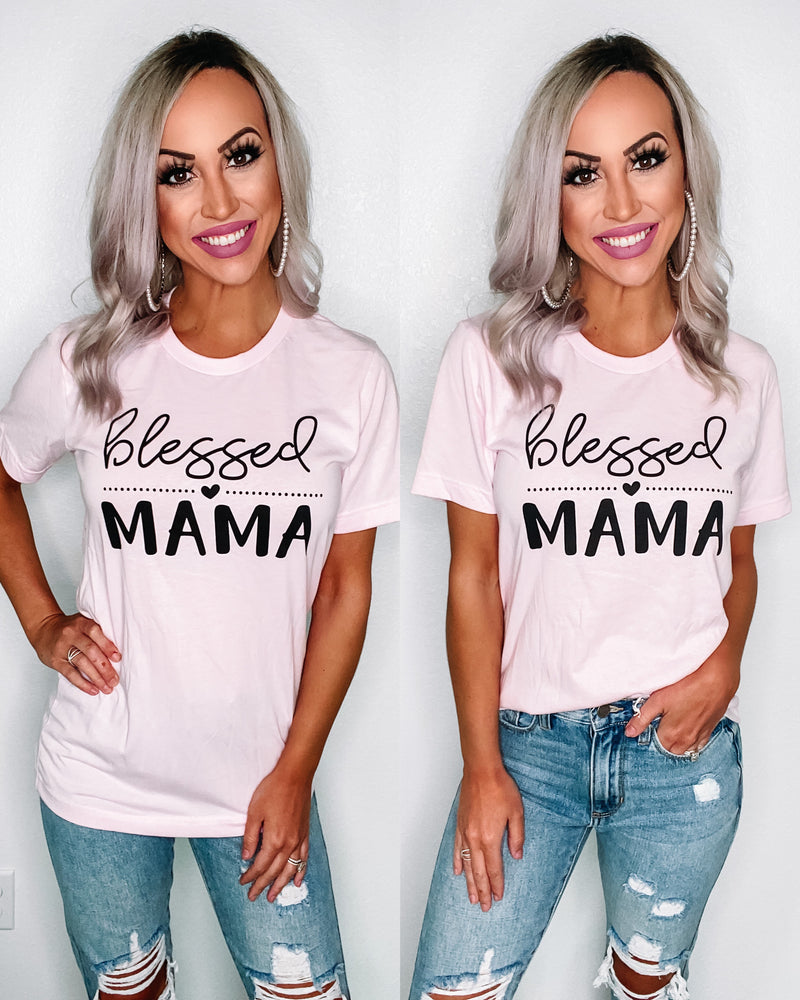 Blessed Mama Tee - Baby Pink