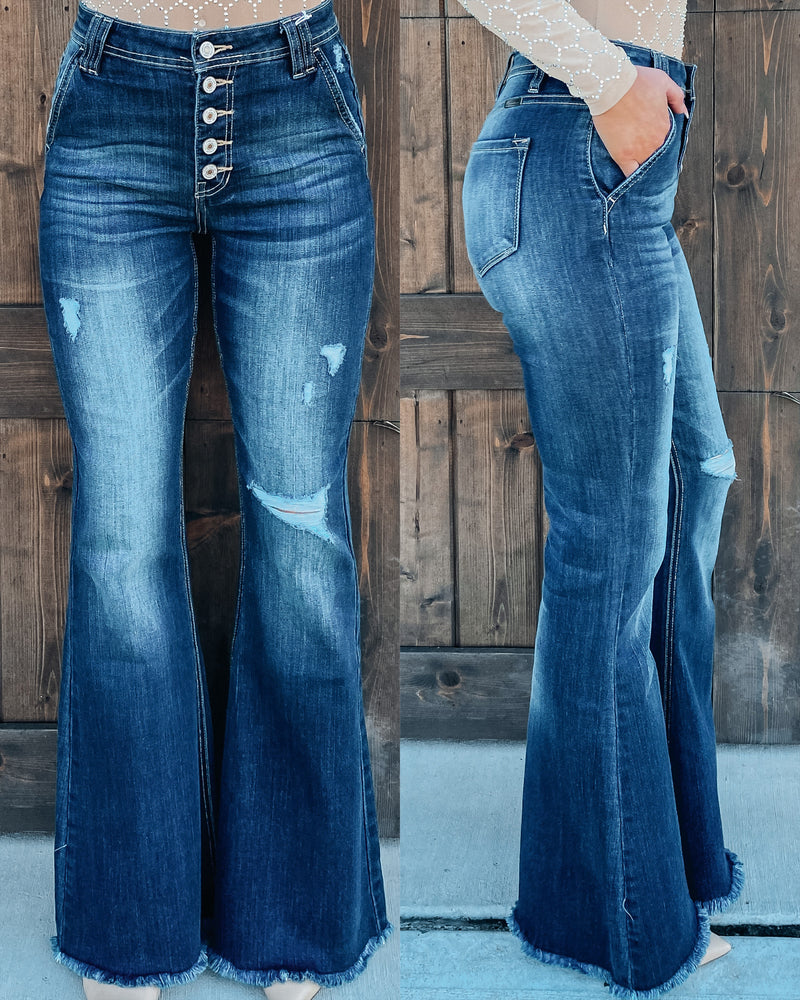 Kirstyn Frayed Bottom Denim Bells