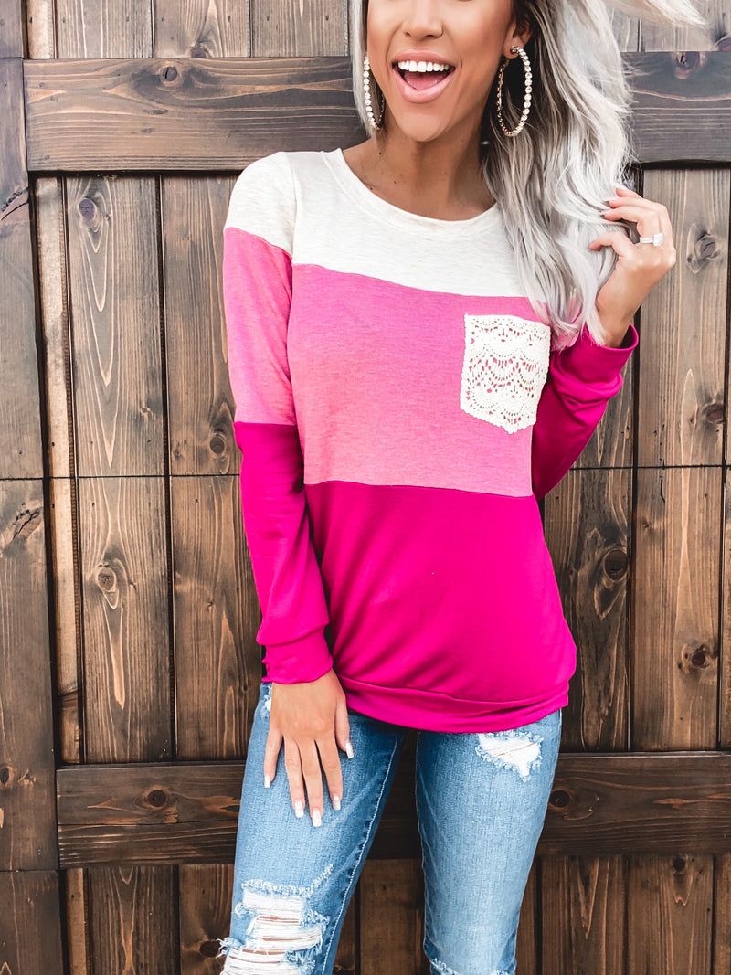 Crush Colorblock Top - Fuchsia