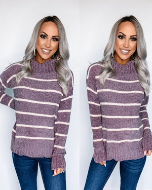Chenille Stripe Turtle Neck Sweater - Dusty Lavender