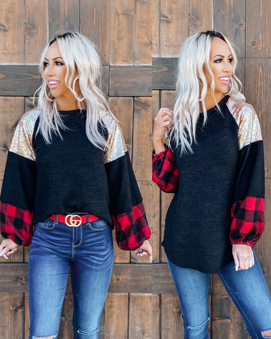 Peace & Joy Buffalo Plaid Sequin Top - Red
