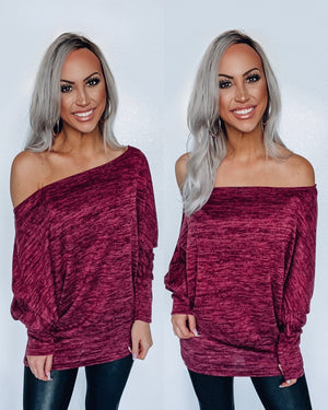 Just My Type Dolman - Burgundy