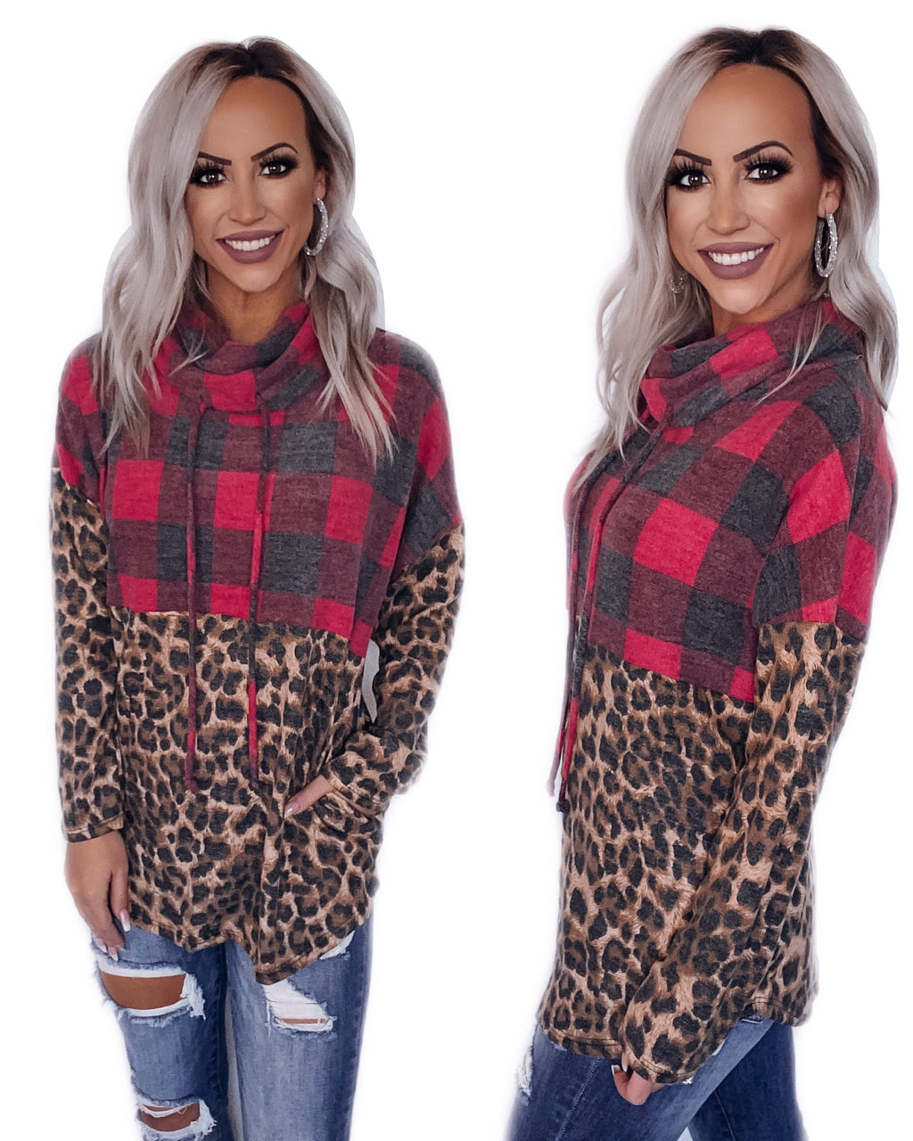 What I Love About Winter Cowl Neck Top - Buffalo Plaid/Leopard