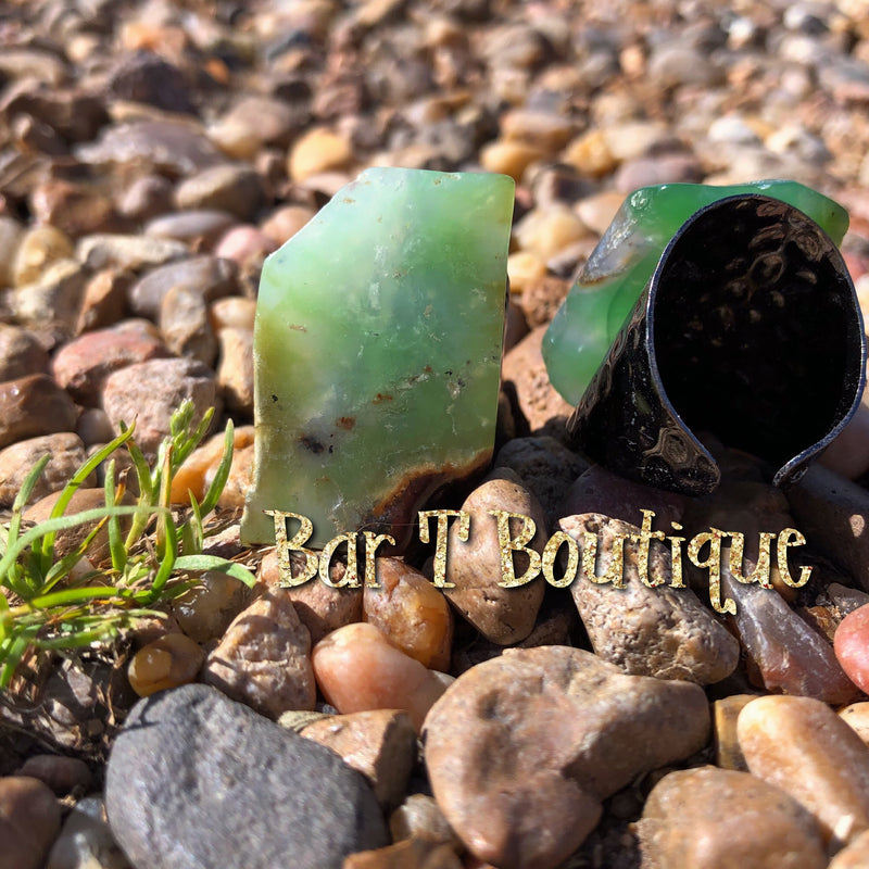 Chrysoprase Gunmetal Ring