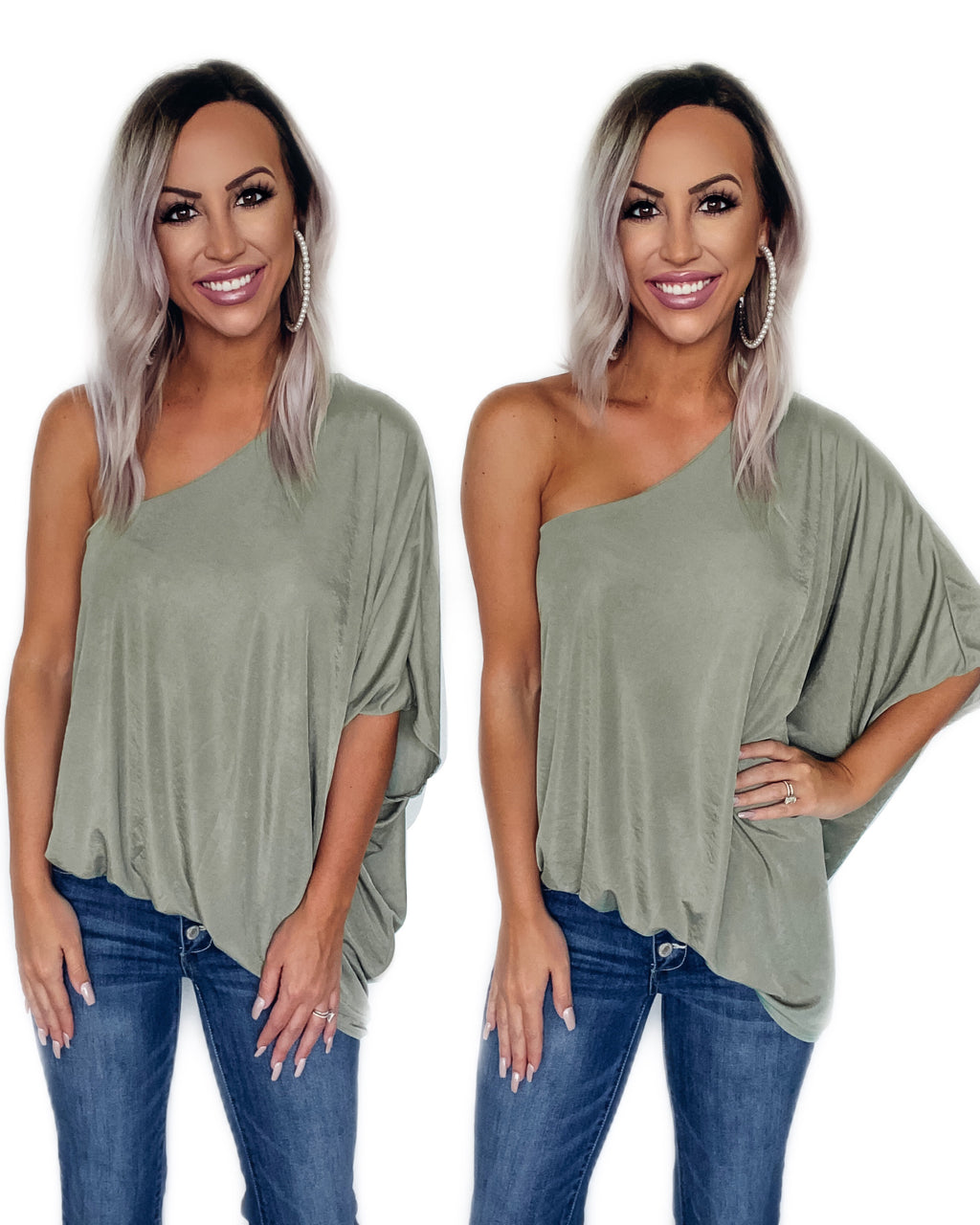 Great Escape One Shoulder Top - Sage