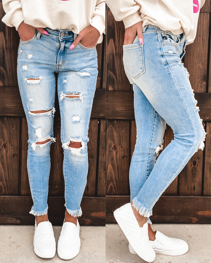 Henley Light Distressed Skinnies