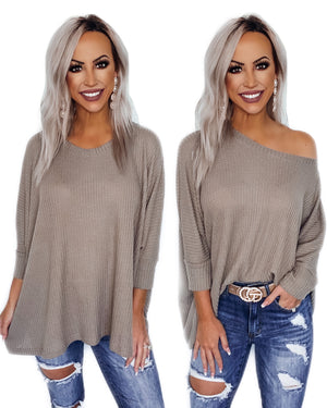 Don't Stay Away Oversized Dolman - Mocha