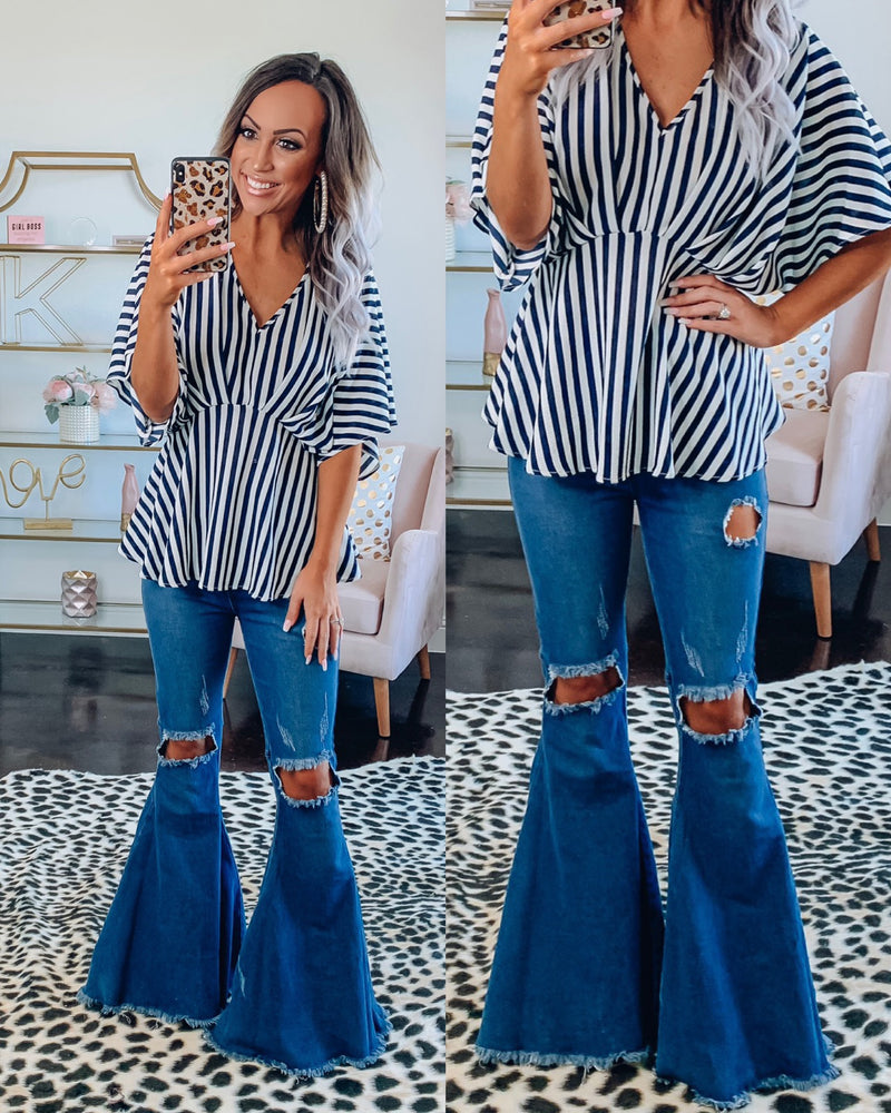 Navy Stripe Blouse