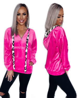 Talk Cozy To Me Velour Hoodie - Hot Pink