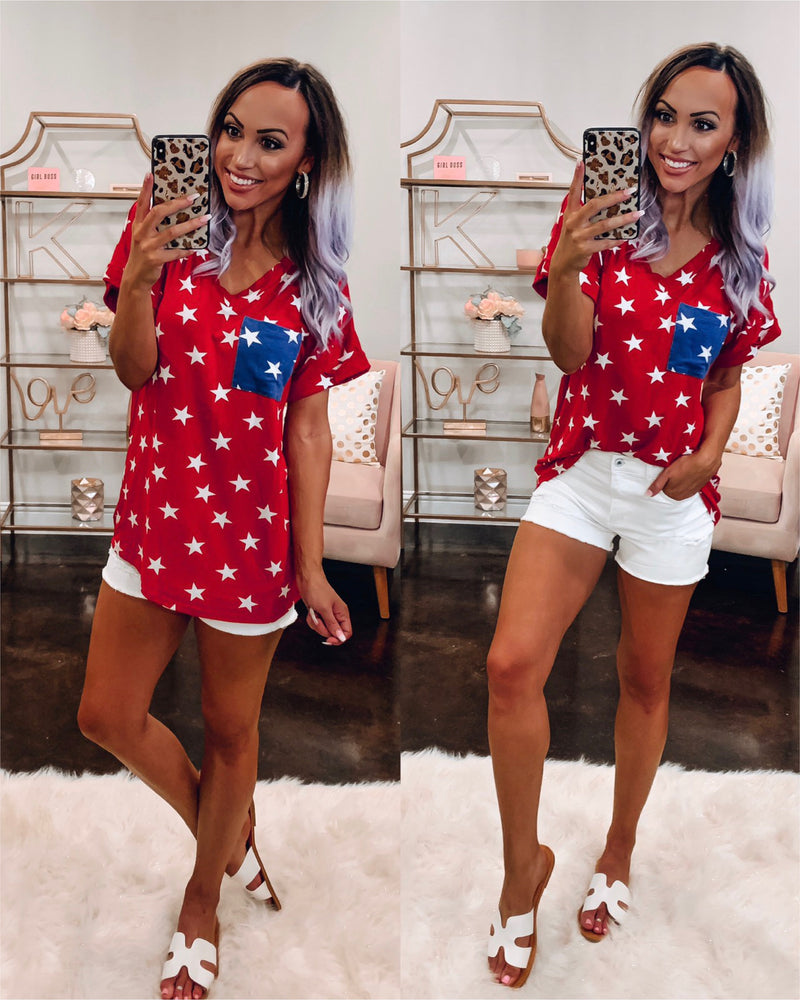 Star Spangled Boyfriend Tee - Red