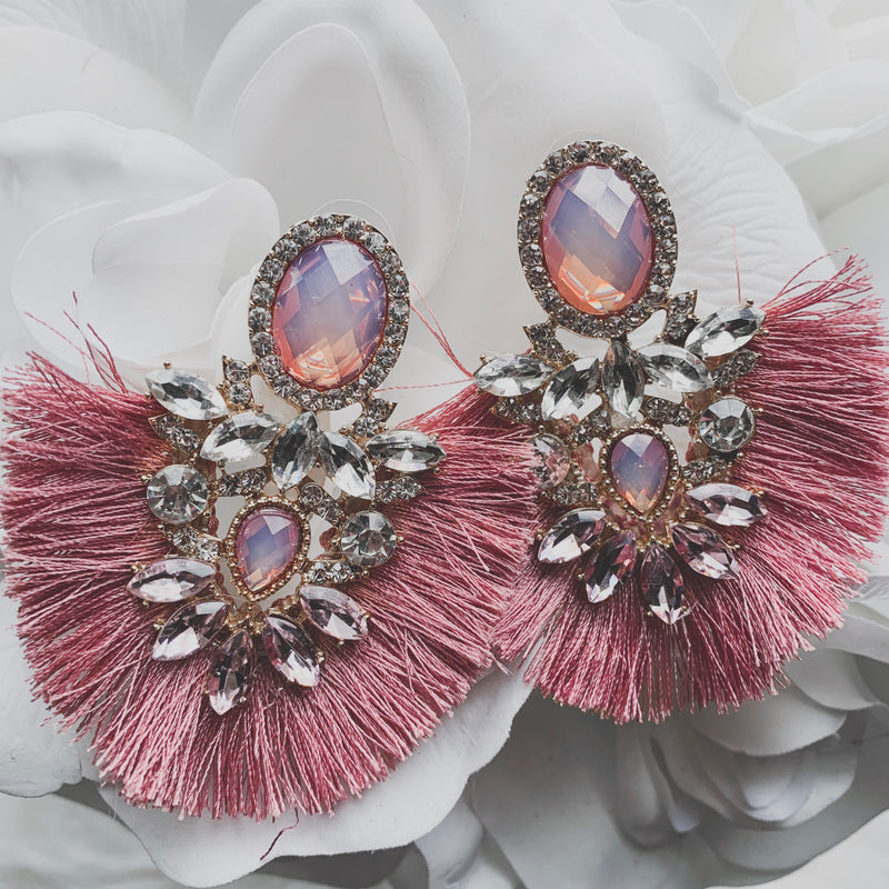 Hope Statement Earrings - Mauve
