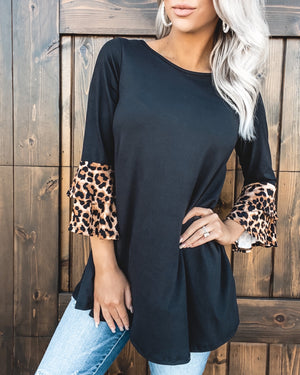 Fall In Love Leopard Ruffle Top
