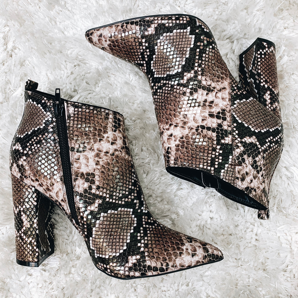 Pointy Snake Print Booties