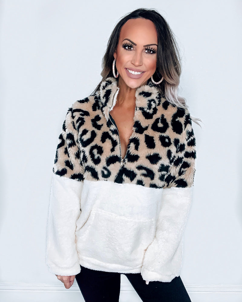 Leopard Ivory Sherpa Pullover