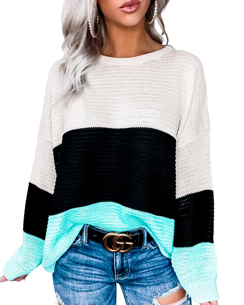 Tiffany Blue Colorblock Sweater