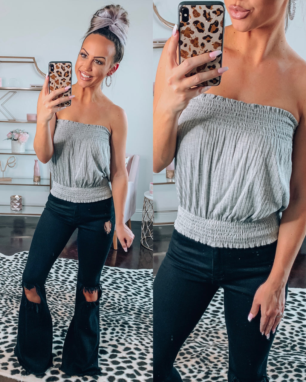 Grey Smocked Tube Top