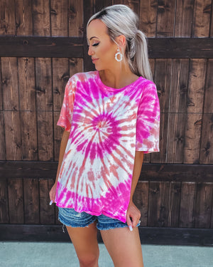 Never Ending Tie Dye Top - Coral/Pink