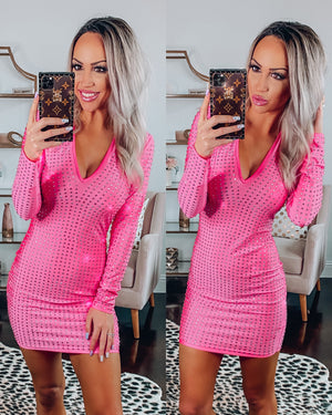 Total Knockout Rhinestone Dress - Barbie Pink