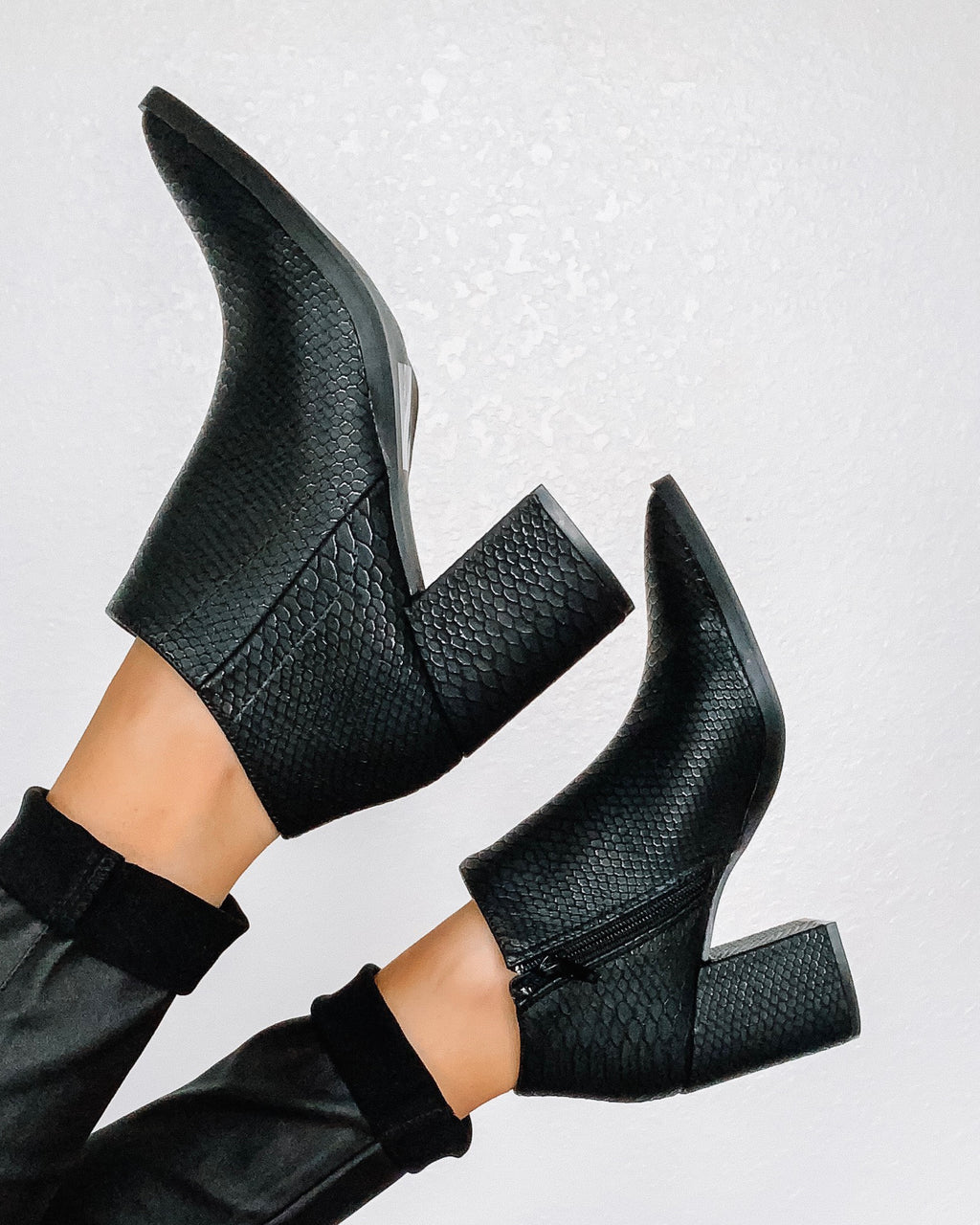 Fame Python Pointy Toe Booties - Black