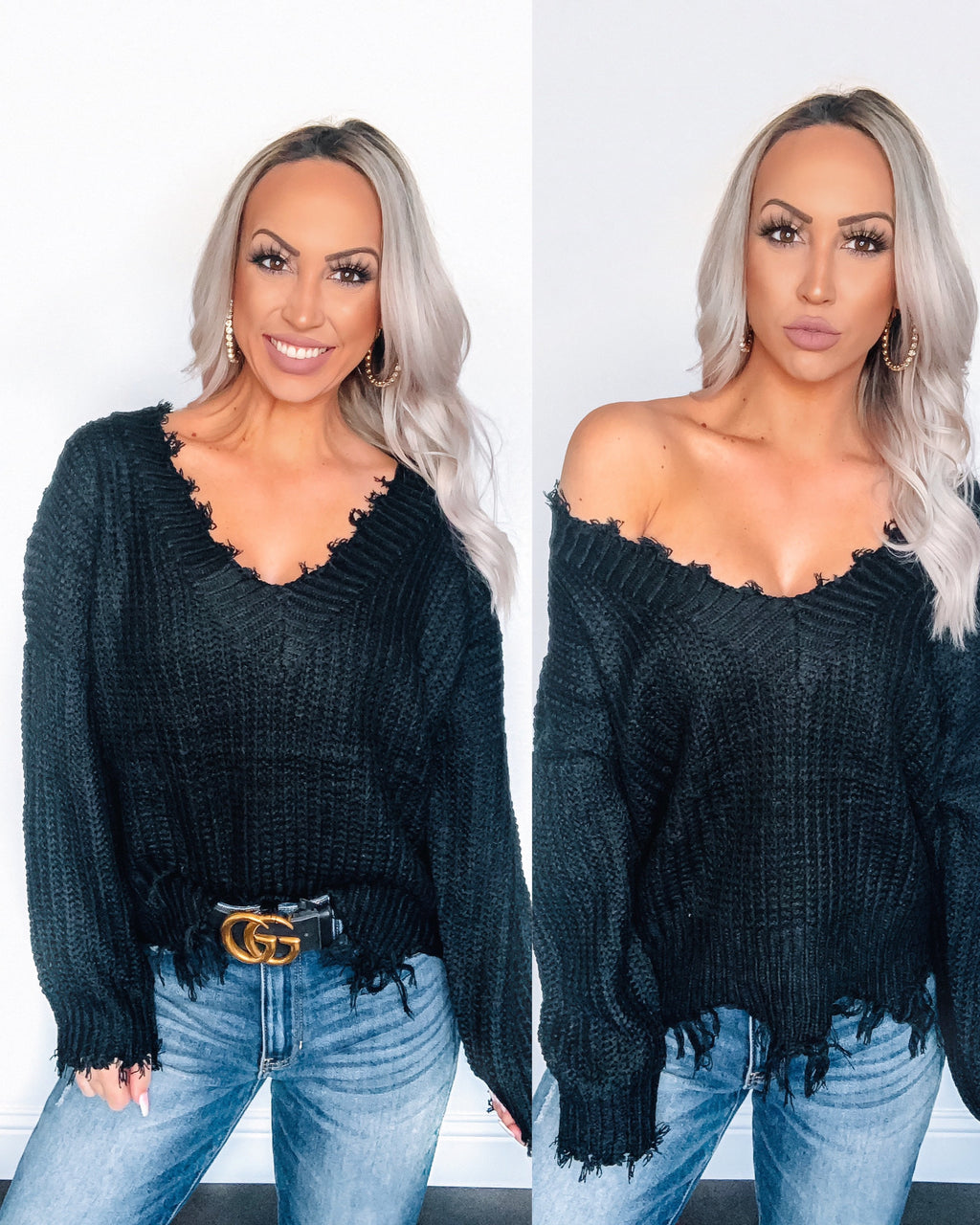 Distressed Sweater - Black