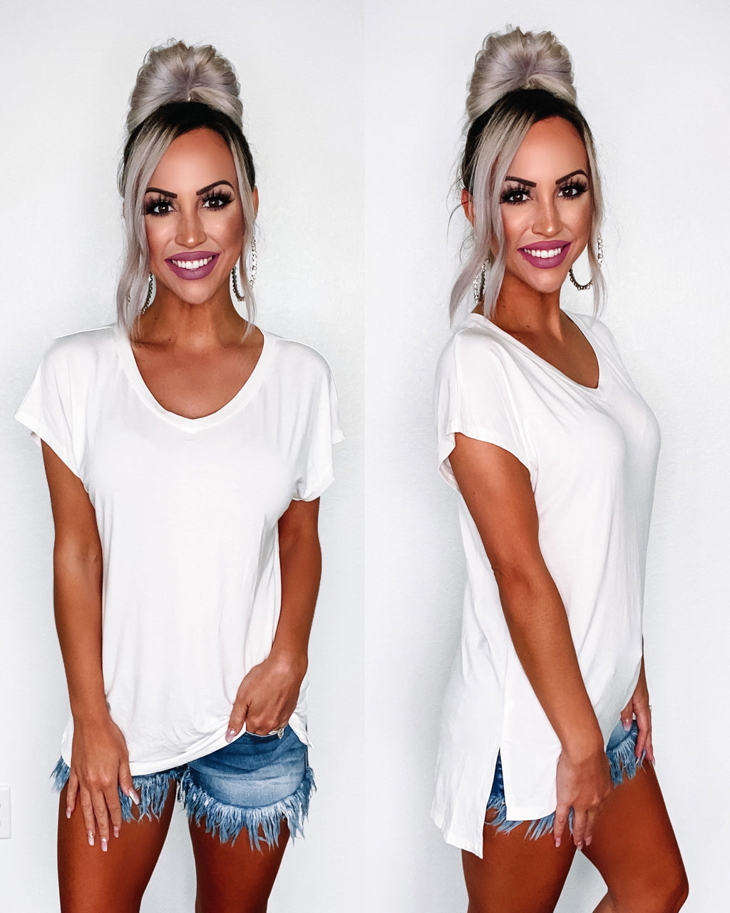 Callie Vneck Top - White {BombDeal}