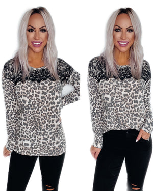 Always Ready Leopard Lace Top