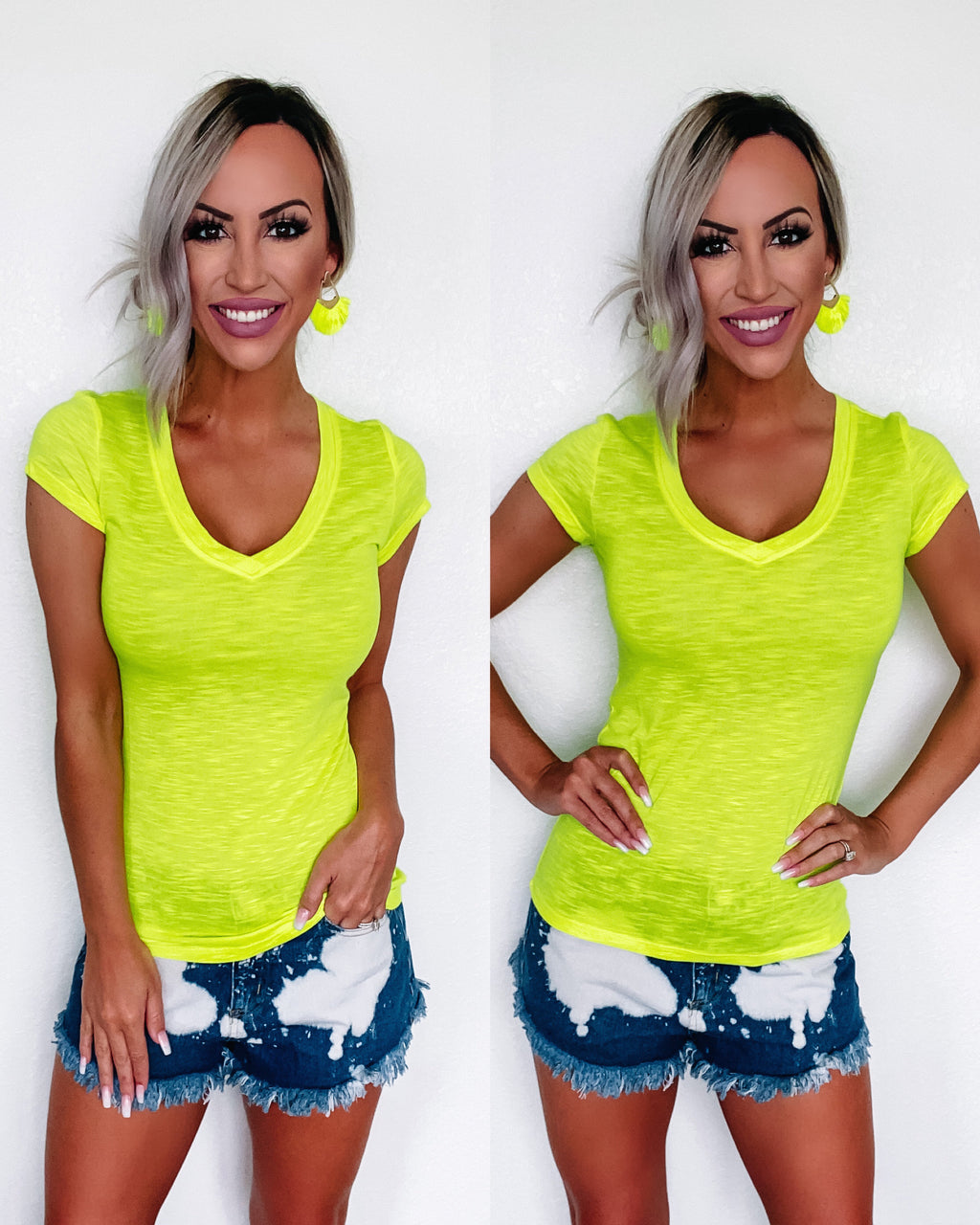 Simplicity Vneck Tee - Neon Lime
