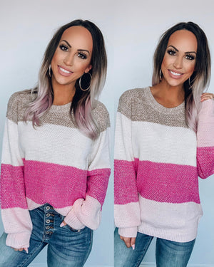 Pink/Taupe Colorblock Sweater