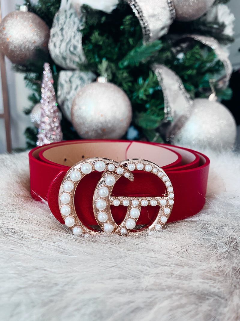 Pearl Gia Belt - Red