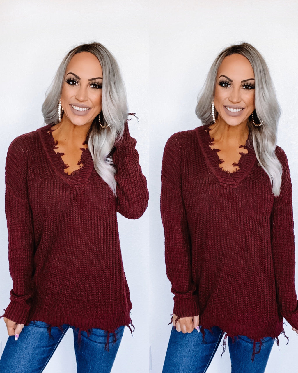 Better With You Frayed Sweater Tunic - Burgundy