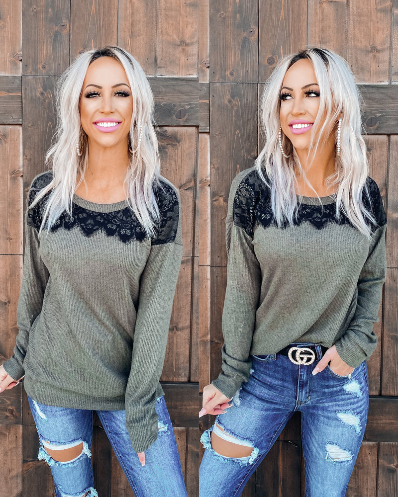 She's So Chic Lace Detail Top - Olive