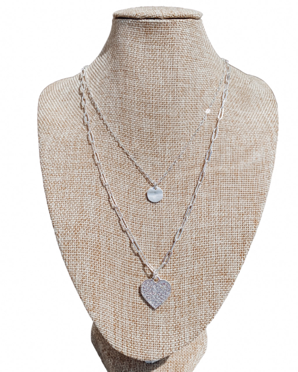 Double Heart Layered Necklace - Silver