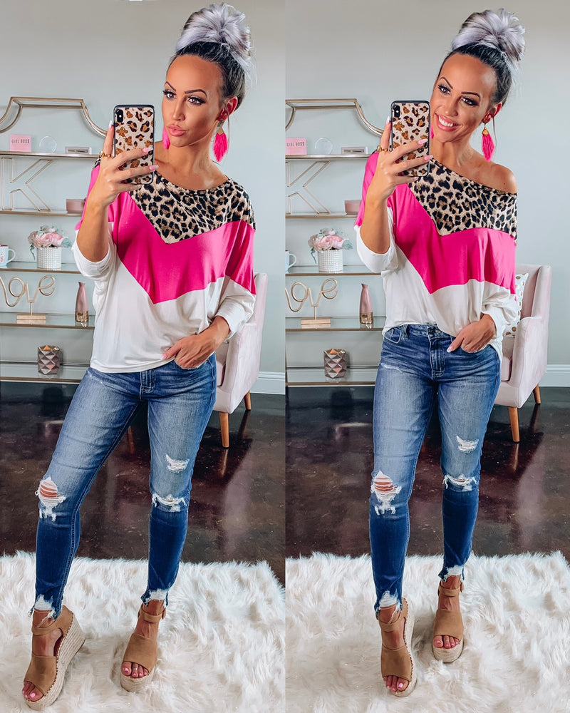Pink Leopard Chevron Top