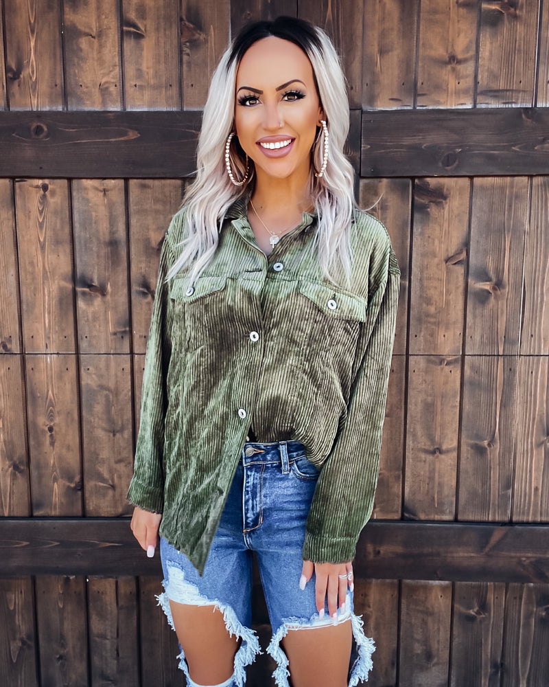 The K Corduroy Button Up Top - Olive