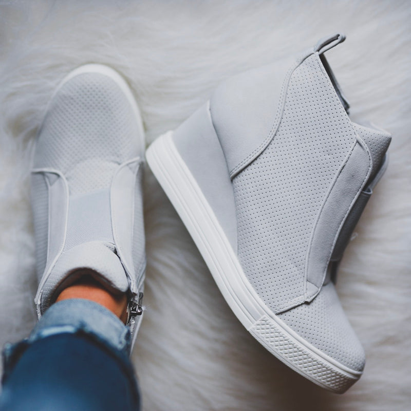 Tatum Wedge Sneakers - Gray