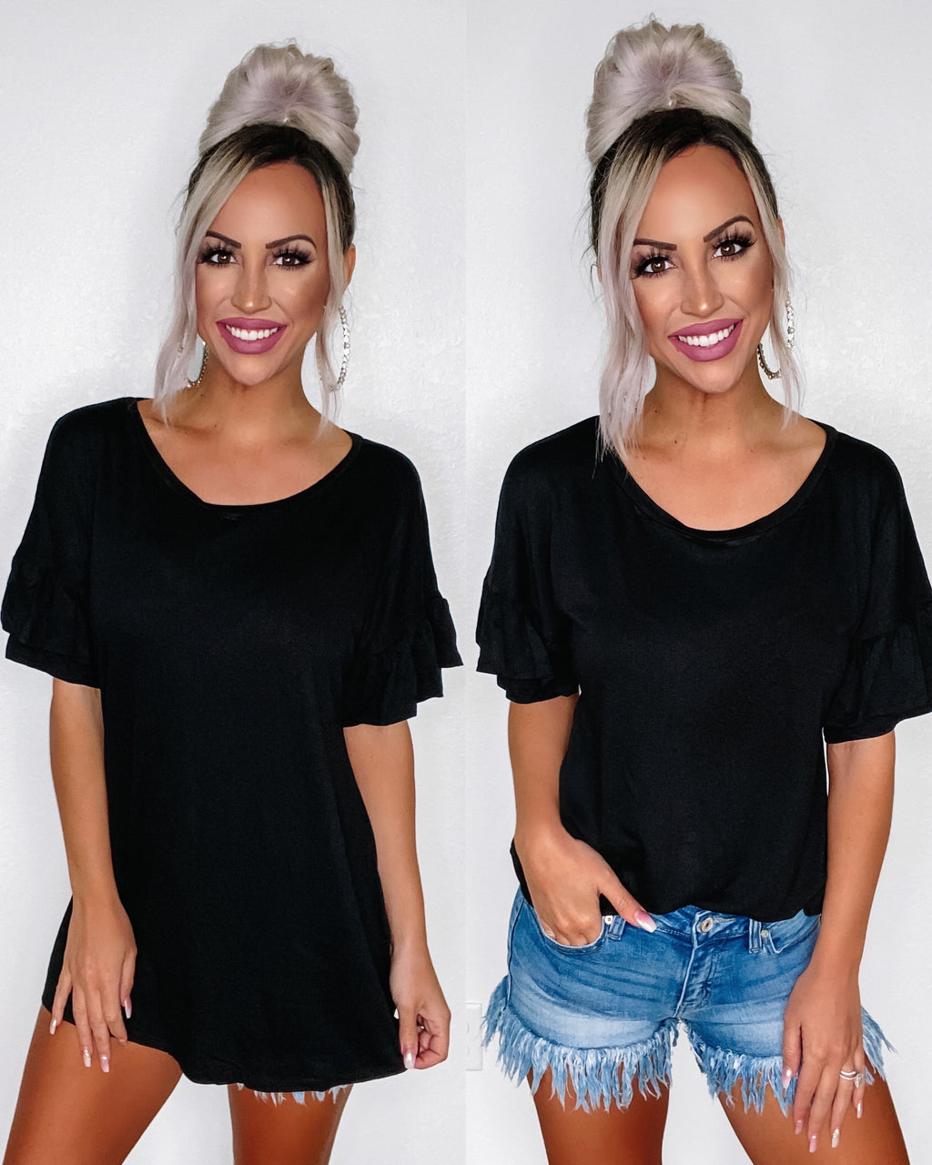 Layla Ruffle Sleeve Top - Black {BombDeal}