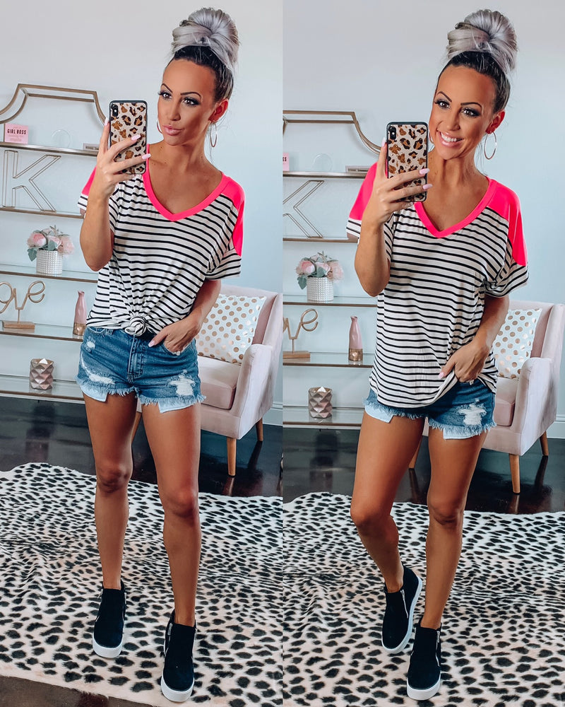 Preppy Stripe Vneck Top - Neon Pink