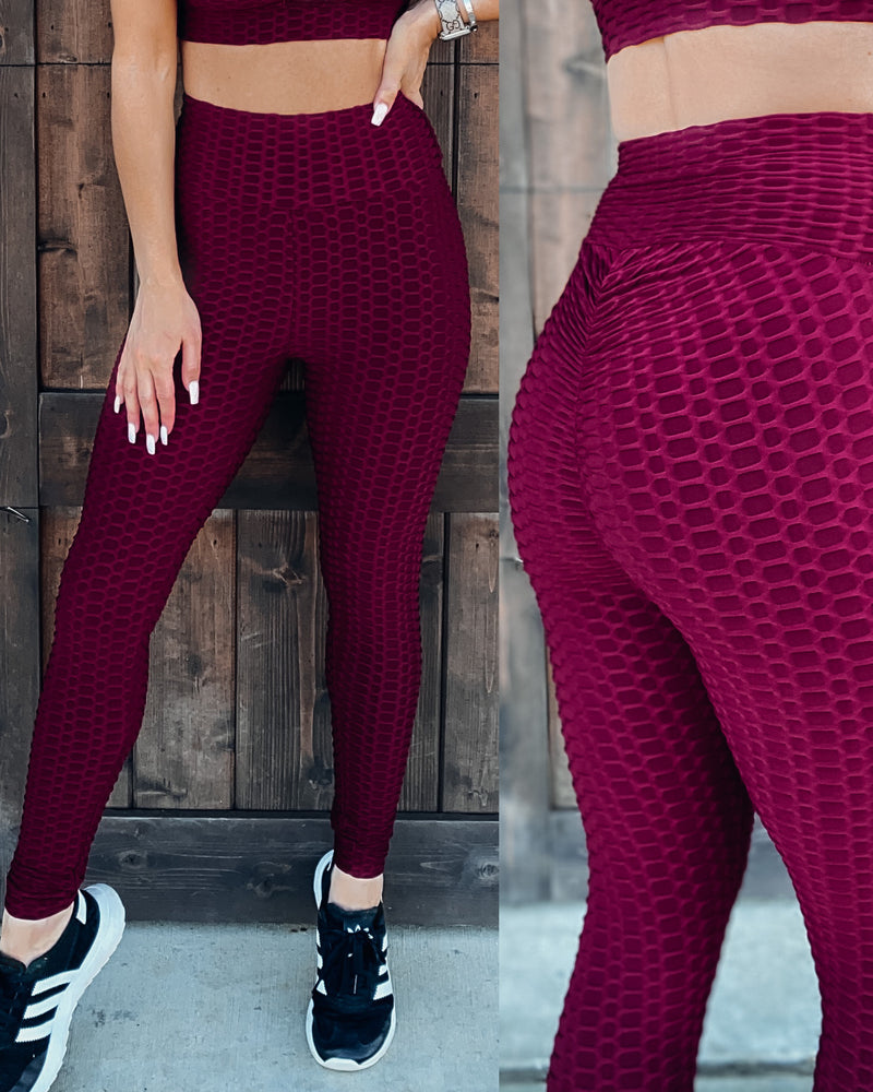Look At Me Now Leggings - Burgundy