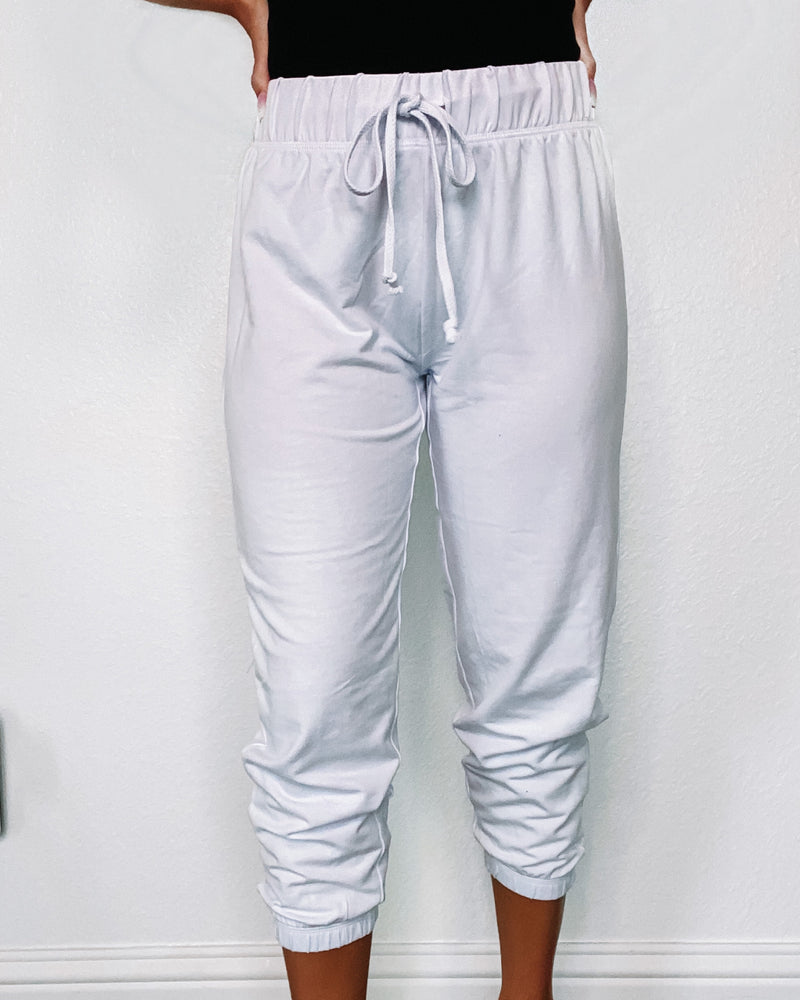 Lounge Around Crop Joggers - White