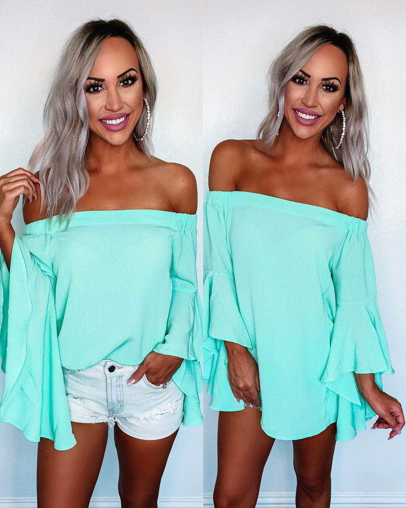 Butterfly Kisses Off the Shoulder Top - Mint