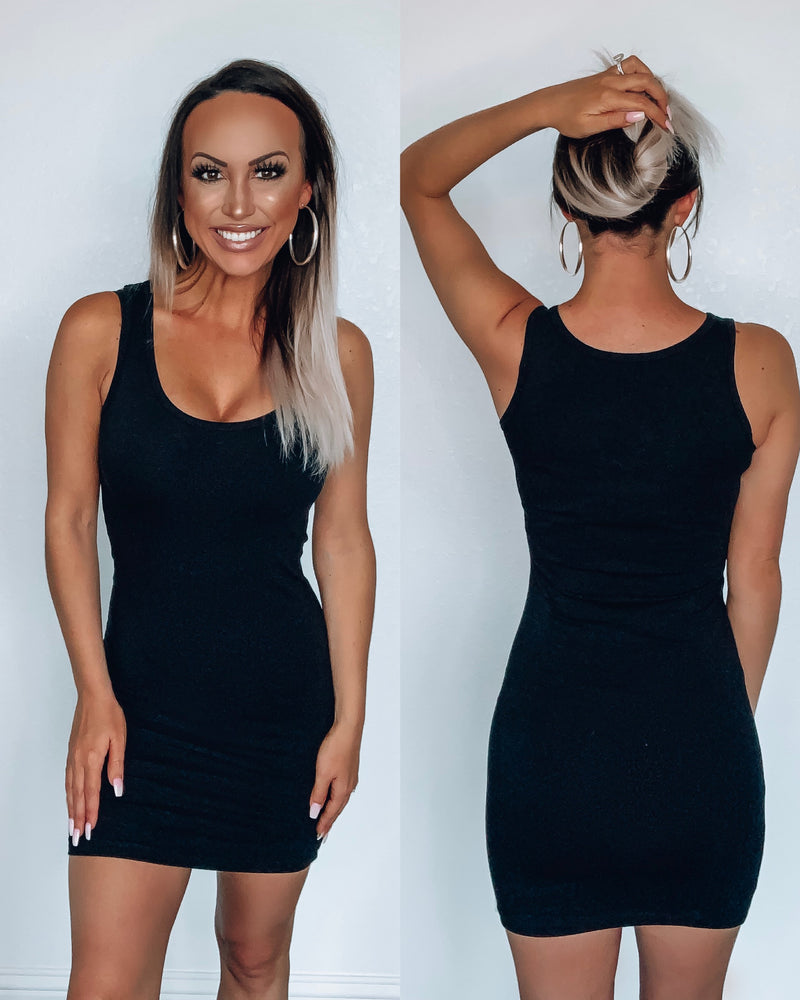 Bodycon Tank Dress - Black