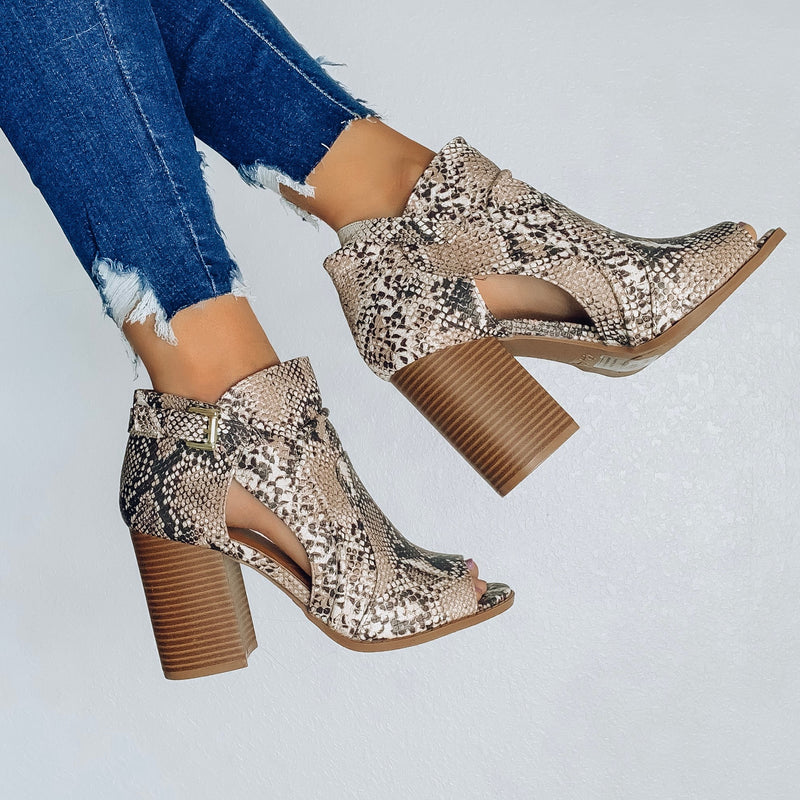 A Walk in the Desert Booties - Snake Print