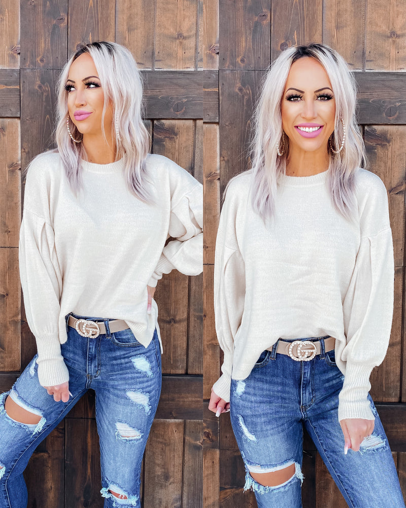 Adelle Puff Sleeve Sweater - Cream