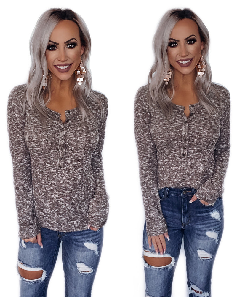 The Way To My Heart Henley Top - Mocha