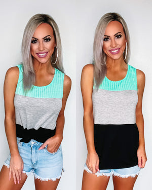 Never Giving Up Colorblock Tank - Mint/Black
