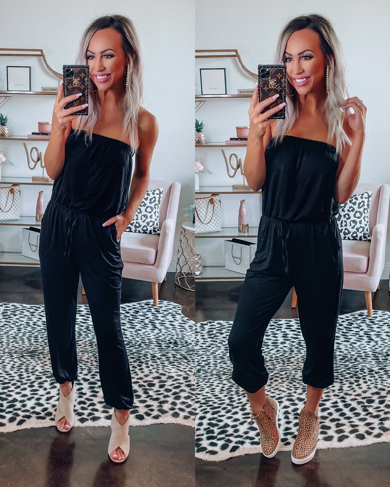 Flirty Strapless Jumpsuit - Black