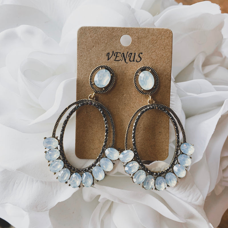 Lexi Rhinestone Drop Earrings - Frosted White